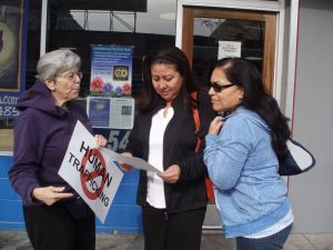 Sr. Judeen discusses human trafficking with people on the street