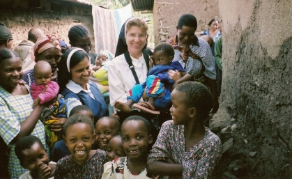Left, Themi Slums, Njiro, Anisha, Tanzania, East Africa Sr. Roshmi on left, Sr. Rose Marie holding child